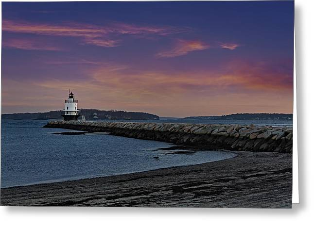 Sprint Point Ledge Light Greeting Card by Susan Candelario