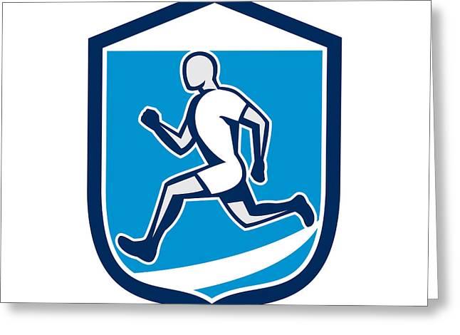 Sprinter Runner Running Shield Retro Greeting Card