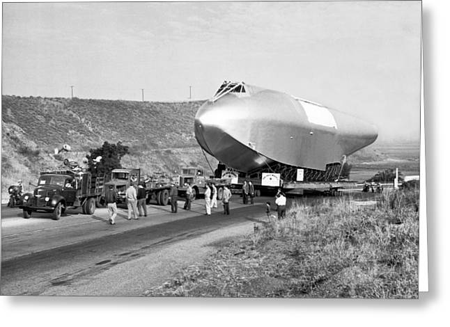 Spruce Goose Hull On The Move Greeting Card by Underwood Archives