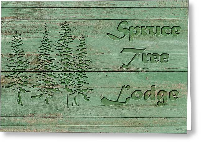 Spruce Lodge Greeting Card by Cora Niele
