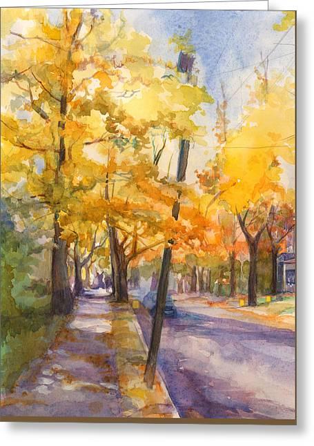 Spruce Street Maples #2 Greeting Card by Nancy Watson