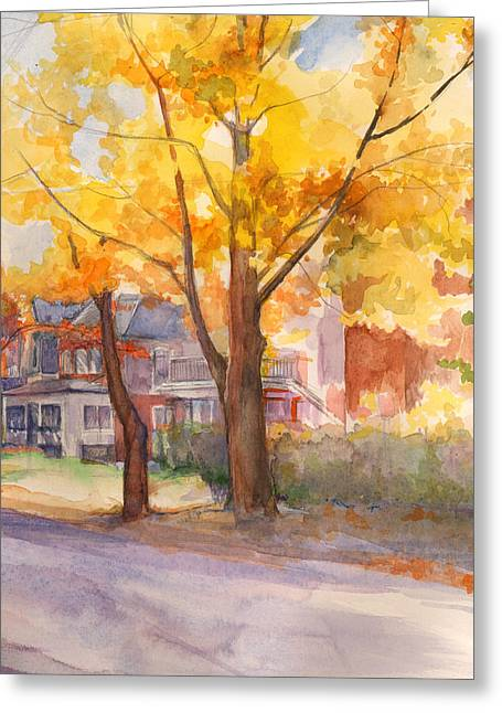 Greeting Card featuring the painting Spruce Street Maples by Nancy Watson