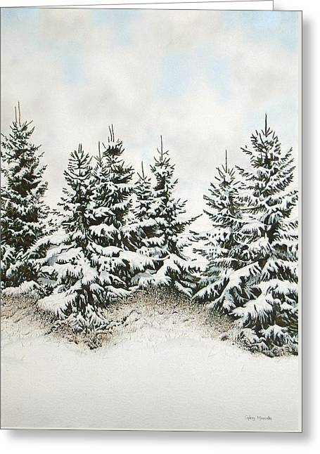 Spruce-trees In Winter Greeting Card by Conrad Mieschke