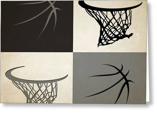 Spurs Ball And Hoop Greeting Card