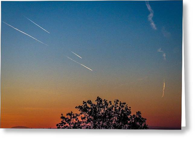 Squadron Of Jet Trails Over Ireland Greeting Card
