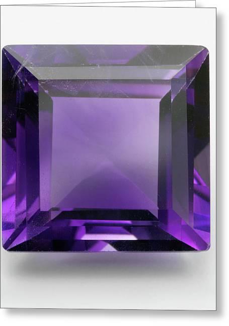 Square Cut Purple Amethyst Gemstone Greeting Card