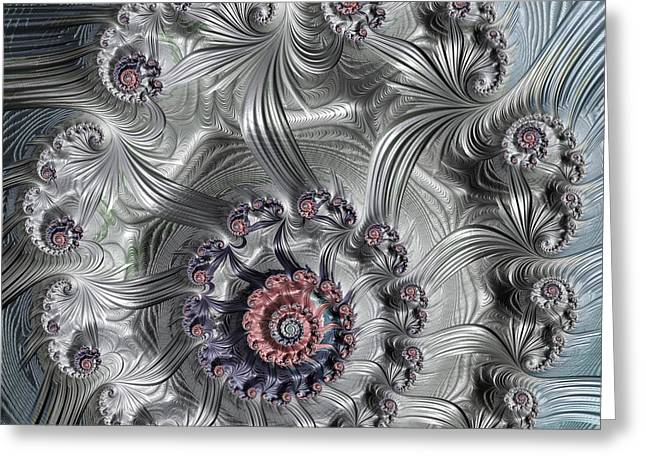 Square Format Abstract Fractal Spiral Art Greeting Card by Matthias Hauser