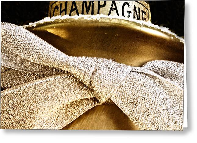 Square Gold Champagne Ornament Greeting Card by Birgit Tyrrell