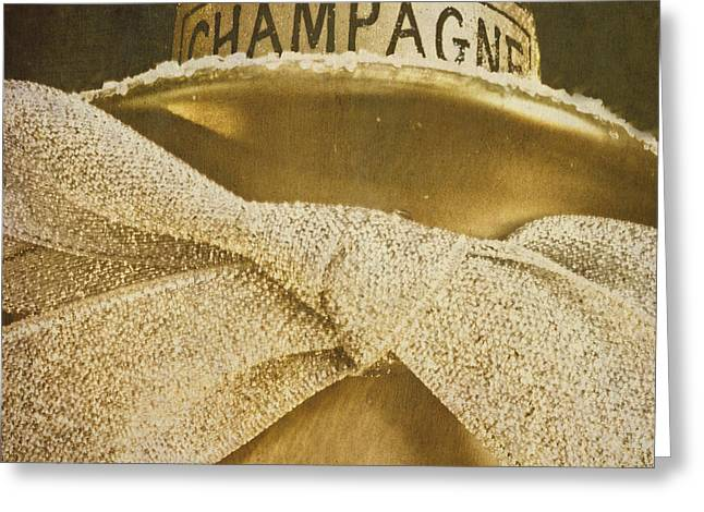 Square Gold Vintage Champagne Ornament Greeting Card by Birgit Tyrrell