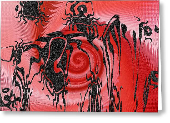 Square In Red With Black Drawing No 4 Greeting Card by Ben and Raisa Gertsberg