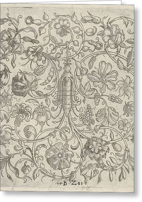 Square Panel With Vegetal Scrollwork Greeting Card by Bernhard Zan