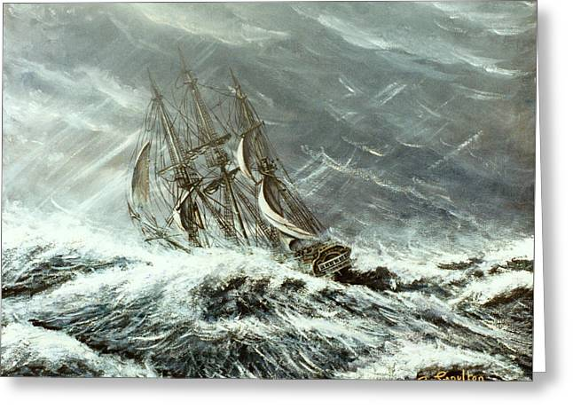 Square Rigged Sailing Ship In A Storm Greeting Card