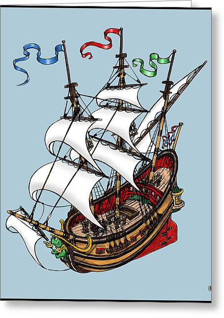 Square Rigged Wooden Ship Greeting Card