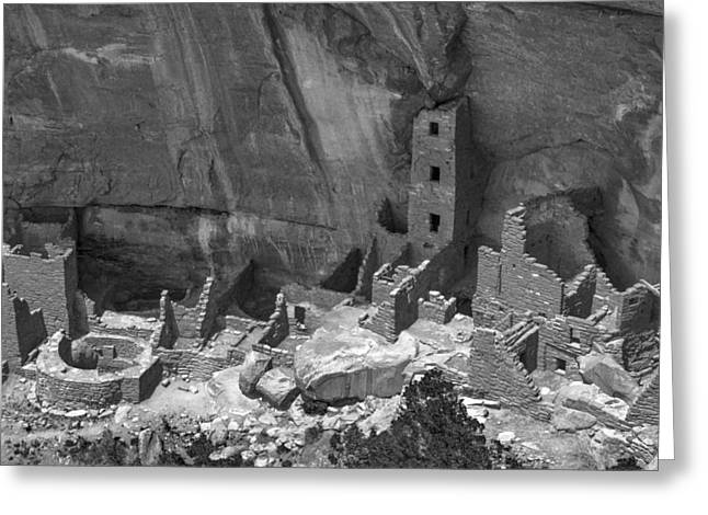 Square Tower At Mesa Verde Bw Greeting Card
