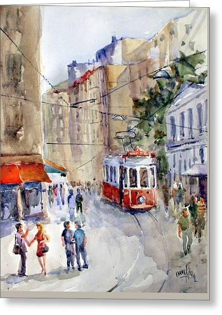 Square Tunel - Beyoglu Istanbul Greeting Card