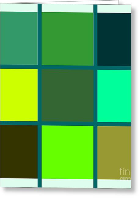 Squares - Green Greeting Card