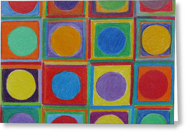 Squares And Circles Greeting Card by Patricia Januszkiewicz