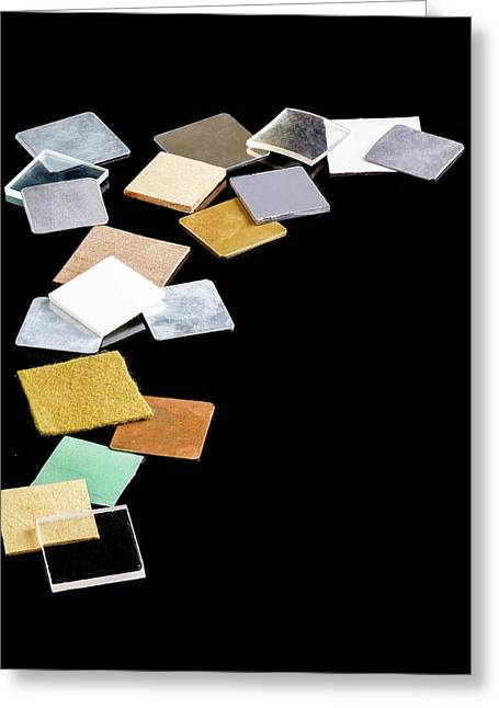 Squares Of Everyday Materials Greeting Card by Science Photo Library