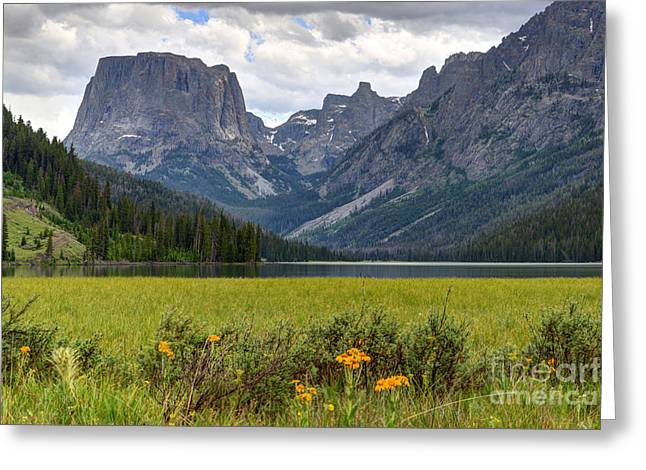 Squaretop Mountain And Upper Green River Lake  Greeting Card by Gary Whitton