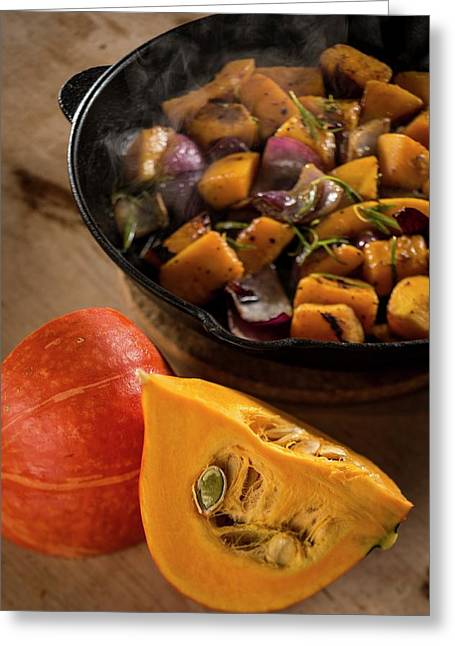 Squash And Onions Greeting Card by Aberration Films Ltd
