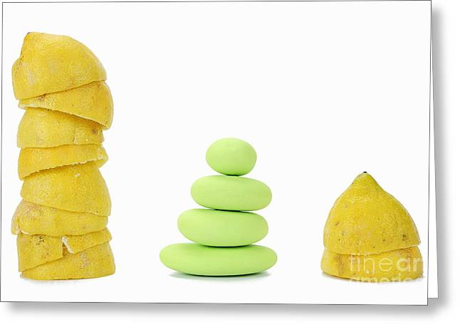 Squeezed Yellow Citrus And Pebbles Greeting Card