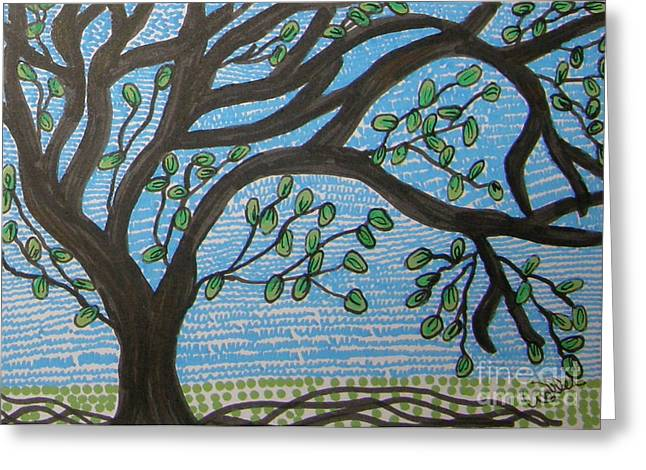 Squiggly Tree Greeting Card by Marcia Weller-Wenbert