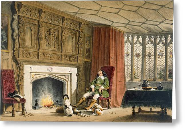 Squire With His Dogs By The Hearth Greeting Card by Joseph Nash