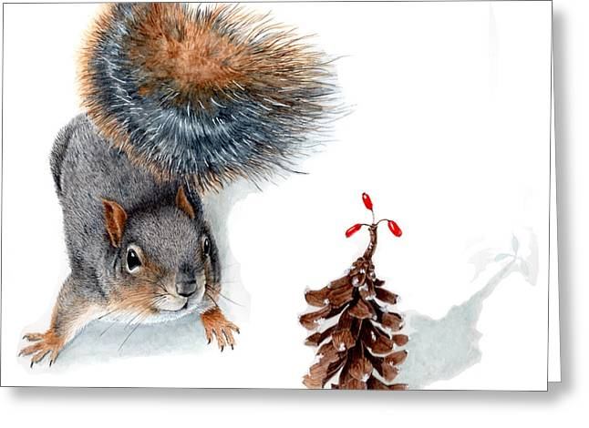 Squirrel And Festive Pine Cone Greeting Card