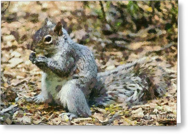 Squirrel In Central Park Greeting Card by George Atsametakis