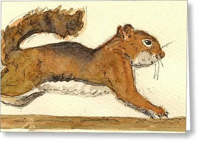 Squirrel Greeting Card by Juan  Bosco