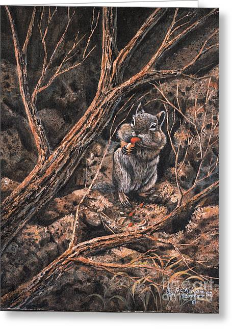 Squirrel-ly Greeting Card by Ricardo Chavez-Mendez