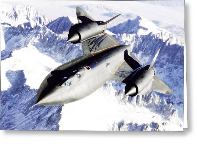 Sr-71 Over Snow Capped Mountains Greeting Card