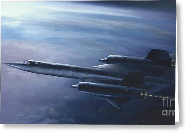 Greeting Card featuring the painting Sr-71 by Stephen Roberson