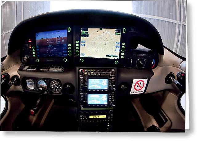 Sr22 Cockpit Greeting Card by Paul Job