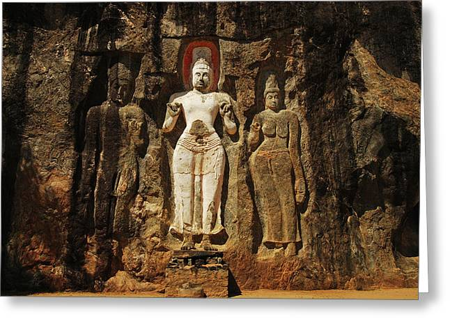 Sri Lanka, Ella, Dhowa Rock Temple Greeting Card by Stephanie Rabemiafara