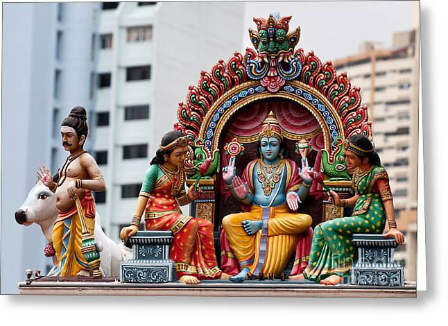 Sri Mariamman Temple 01 Greeting Card by Rick Piper Photography