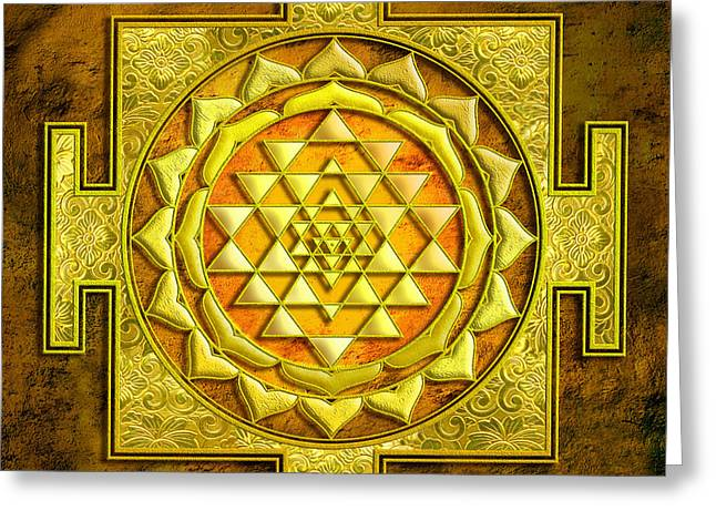 Sri Yantra Gold Stone Greeting Card