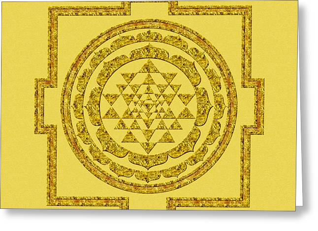 Sri Yantra In Gold Greeting Card