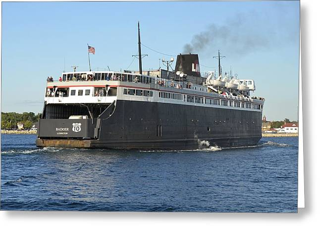 Carferry Badger Arriving At Ludington Greeting Card
