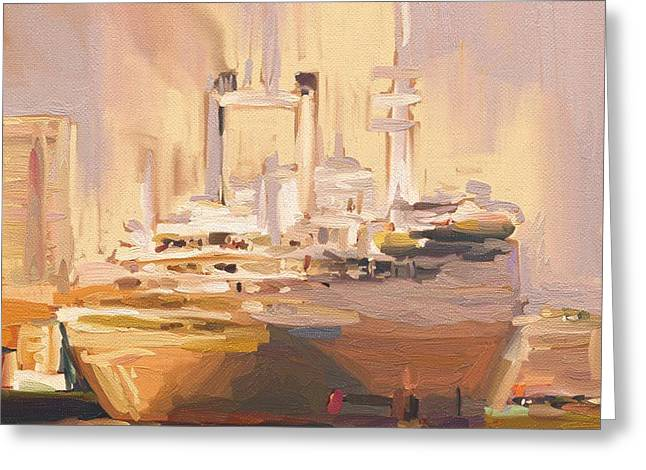 Greeting Card featuring the painting Ss Rotterdam In Autumn Light by Nop Briex