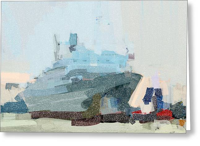 Greeting Card featuring the painting Ss Rotterdam by Nop Briex
