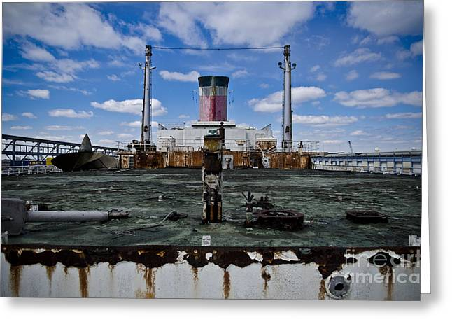 Ss United States Rusted Deck Greeting Card by Jessica Berlin