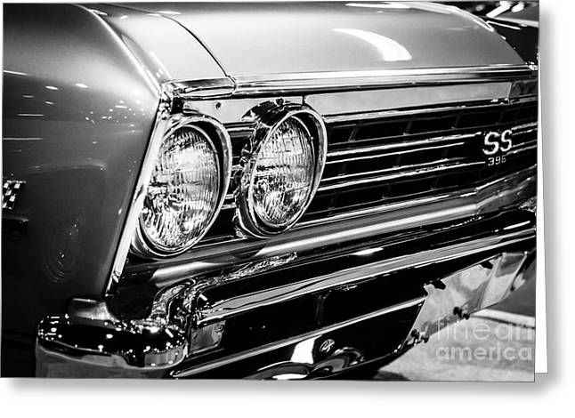 Ss396 Chevelle Black And White Picture Greeting Card by Paul Velgos