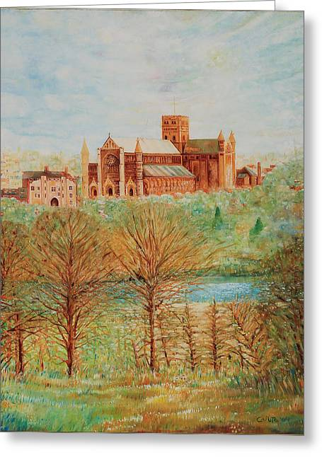 Greeting Card featuring the painting St Albans Abbey - Autumn View by Giovanni Caputo