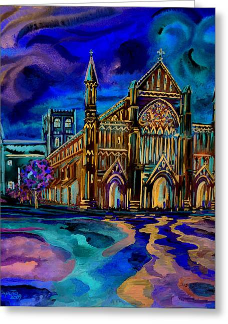 Greeting Card featuring the digital art St Albans Abbey - Night View by Giovanni Caputo