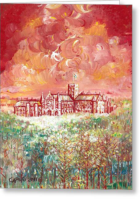 Greeting Card featuring the painting St Albans Abbey - Stormy Weather by Giovanni Caputo