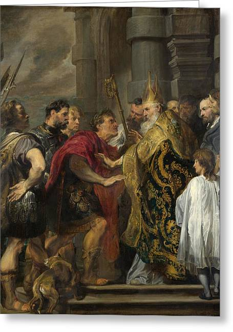 St. Ambrose Barring Theodosius From Milan Cathedral Greeting Card by Anthony van Dyck