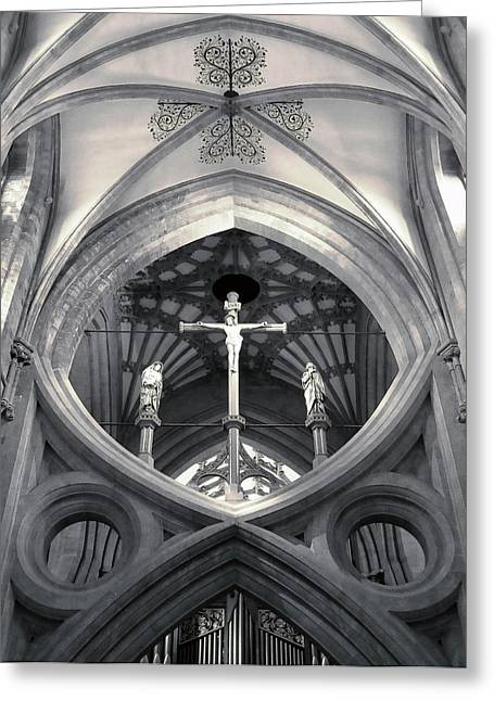 St Andrews Cross Scissor Arches Of Wells Cathedral  Greeting Card
