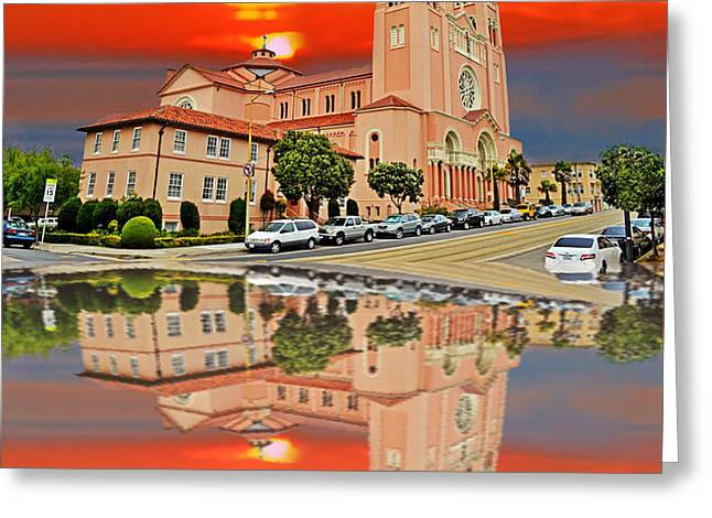 St Anne Church Of The Sunset In San Francisco With A Reflection  Greeting Card