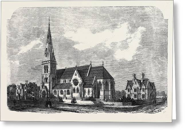 St. Anns Church Parsonage And Schools Hanger Lane Stamford Greeting Card by English School